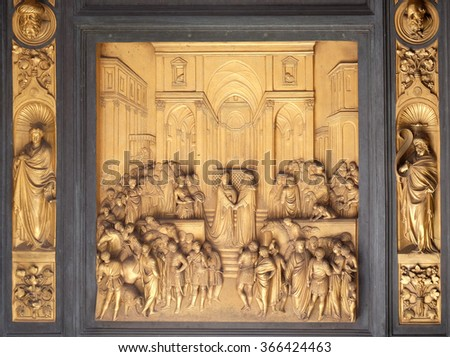 FLORENCE, ITALY - JUNE 05: Baptistry of Saint John, Gates of Paradise, Queen of Sheba and King Solomon, Florence, Italy on June 05, 2015 - stock photo