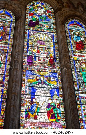 Florence, Italy-June 2, 2016. Interior detail of the Basilica of Santa Maria Novella, situated just across from the main railway station which shares its name.  - stock photo