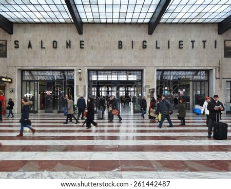 FLORENCE, ITALY -11 MARCH 2013- Editorial: Opened in 1934, the Florence Train Station (Firenze Stazione di Santa Maria Novella) now welcomes the FrecciaRossa and Frecciargento high-speed trains.  - stock photo