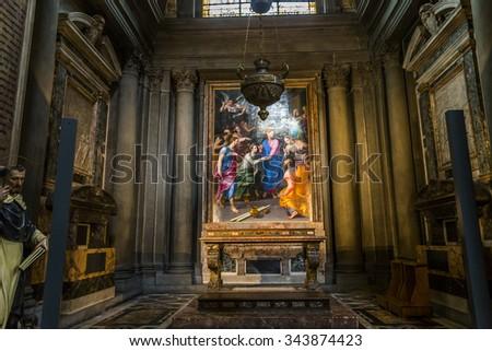 FLORENCE, ITALY, OCTOBER 26, 2015 : interiors and architectural details of Santa Maria Novella basilica, october 26, 2015 in Florence, Italy - stock photo