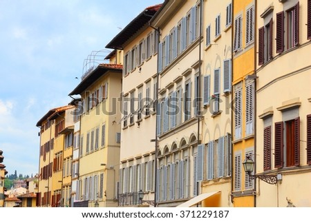 Florence, Italy - typical Mediterranean residential architecture. Apartment buildings. - stock photo