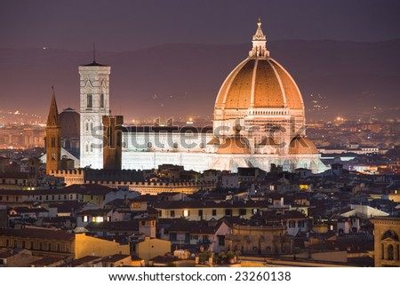 Florence,  Night view of the Duomo and Giotto's Campanile. - stock photo
