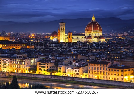 Florence or Firenze, Duomo Cathedral, Basilica Santa Maria del Fiore landmark and Giotto Campanile Sunset view from Michelangelo park square. Italy, Europe. - stock photo