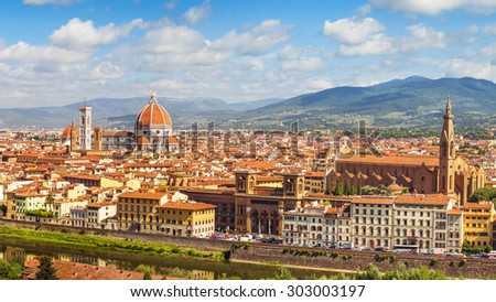 Florence panorama,  Cathedral Santa Maria Del Fiore and Basilica di Santa Croce from Piazzale Michelangelo (Tuscany, Italy) - stock photo