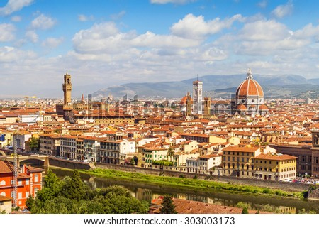 Florence panorama, Palazzo Vecchio and  Cathedral Santa Maria Del Fiore from Piazzale Michelangelo (Tuscany, Italy) - stock photo