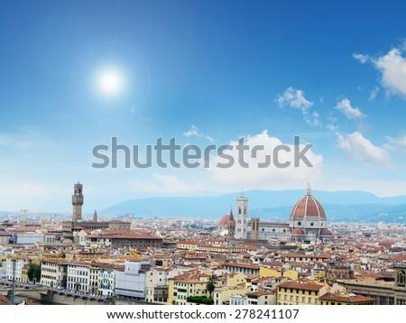 Florence panorama with Palazzo Vecchio and Santa Maria del Fiore, Italy - stock photo