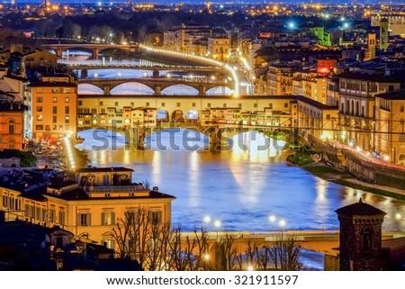 Florence, Ponte Vecchio Scenics night view  - stock photo