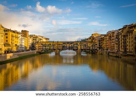Florence, Ponte Vecchio Scenics, sunny day. - stock photo