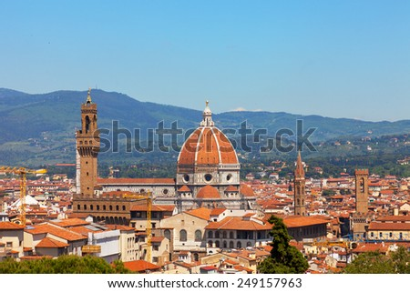 Florence, river embankment of Arno and Cathedral of Santa Maria del Fiore - stock photo