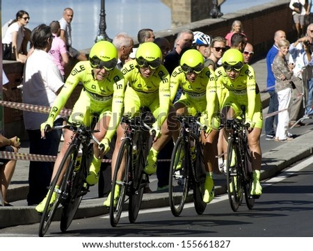 FLORENCE-SEPTEMBER 22: one of the teams that participates in the time team trial race of the UCI road World Championship in florence, on 22 september, 2013. - stock photo