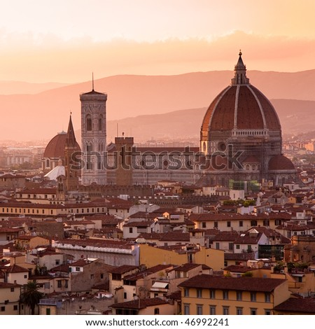Florence skyline at sunset, Italy. Campanile di San Marco - stock photo