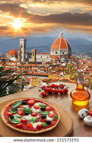 Florence with Cathedral and typical Italian pizza in Tuscany,  Italy - stock photo