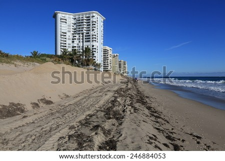 Florida beach being restored with more sand after erosion from winter storms - stock photo