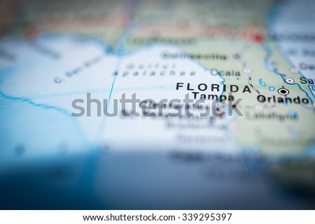 Florida close up on map, shallow depth of field. (vignette) - stock photo