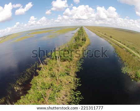 Florida Everglades and waterways seen from high up - stock photo