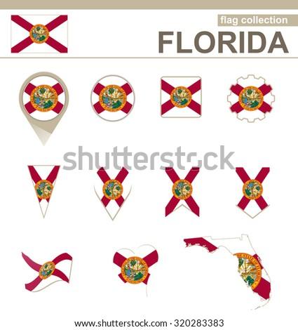 Florida Flag Collection, USA State, 12 versions, Rasterized Copy - stock photo