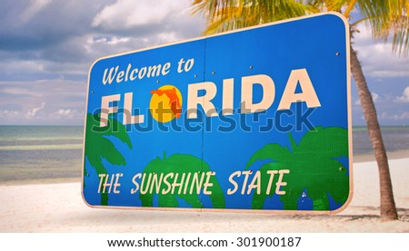 Florida official welcome sign isolated on local scenery, all photos used are from my portfolio  - stock photo