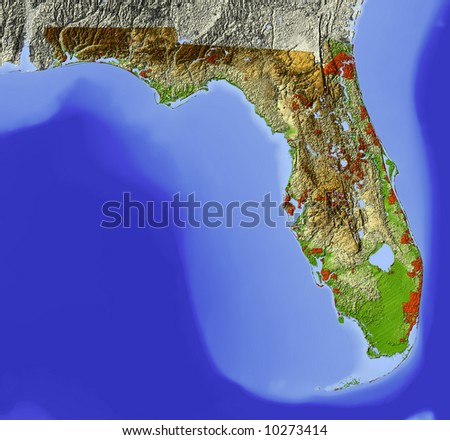 Florida. Shaded relief map.  Shows major urban areas, surrounding territory greyed out.  Colored according to relative terrain height. Map projection Mercator. - stock photo