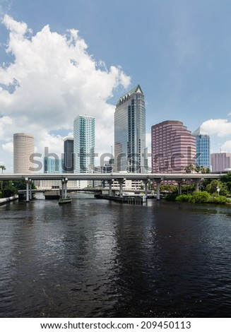 Florida skyline at Tampa taken from Platt Street Bridge in summer during the day - stock photo