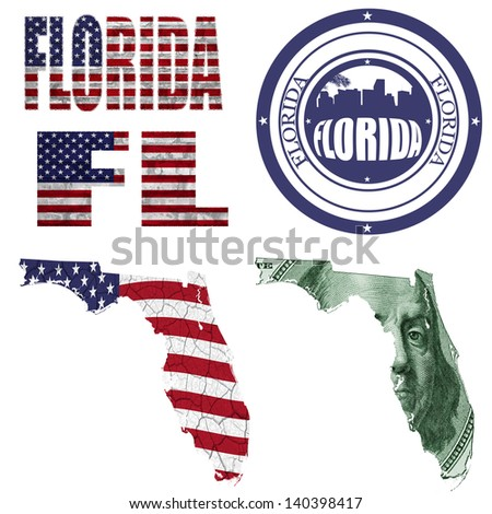 Florida state collage (map, stamp,word,abbreviation) in different styles in different textures - stock photo