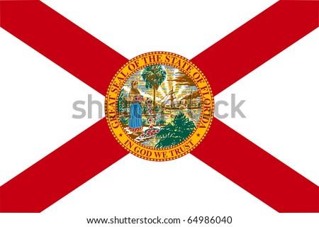 Florida state flag of America, isolated on white background. - stock photo