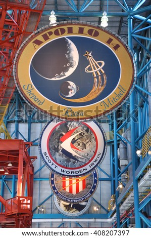 FLORIDA, USA - DEC 20: Apollo Misson Badges in Apollo/Saturn V Center at Kennedy Space Center Visitor Complex on Dec. 20, 2010 in Cape Canaveral, Florida, USA. - stock photo