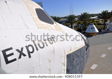 FLORIDA, USA - DEC 20: Space Shuttle Explorer, a life-size replica of the Space Shuttle at Kennedy Space Center on Dec. 20, 2010 in Cape Canaveral, Florida, USA. - stock photo