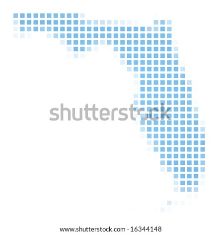 Florida (USA) map square mosaic. Easy to recolor. - stock photo