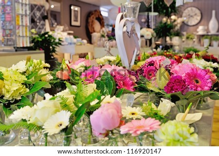 florist shop with beautiful flowers - stock photo