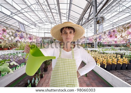 florist with hat in greenhouse watering the  flowers - stock photo
