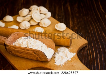Flour and dumplings - stock photo