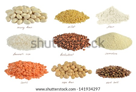 Flour, cereals and beans isolated with path on white background - stock photo