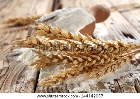 flour in kitchen - stock photo