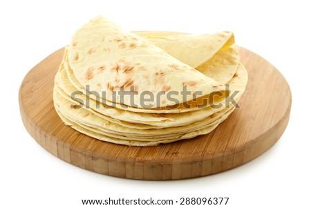 Flour tortillas isolated on white - stock photo