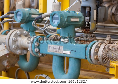 Flow meter for measure oil , liquid and gas in the system, The meter to measure flow condition in oil and gas process. - stock photo