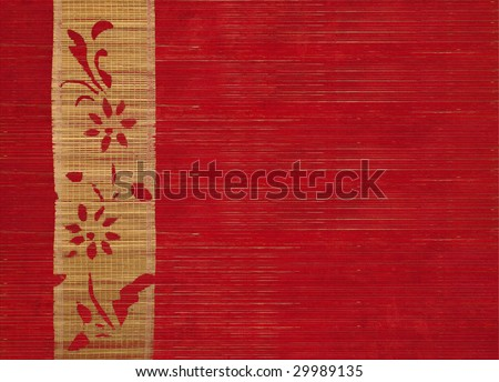 flower bamboo banner on ribbed wood background - stock photo