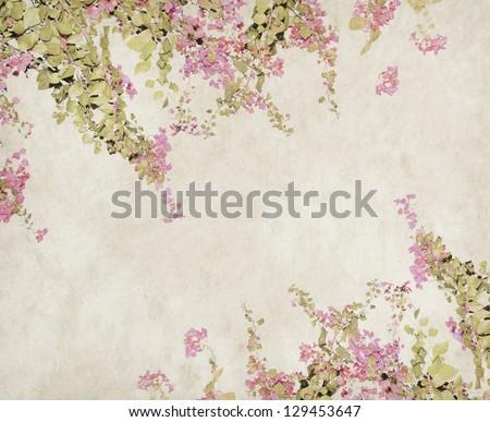 flower blossom on old antique vintage paper background - stock photo