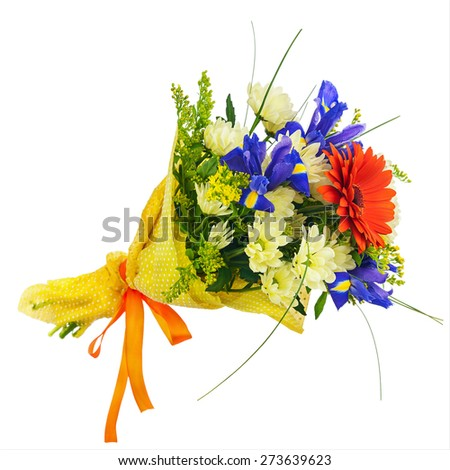 Flower bouquet from multi colored gerbera, iris and other flowers isolated on white background. Closeup. - stock photo