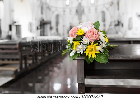 Flower bouquet in the Christ church - stock photo