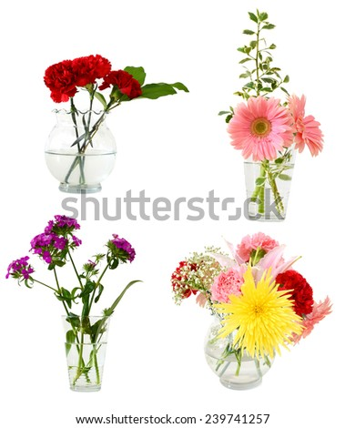 flower bouquet of lovely gift in glass vases - stock photo