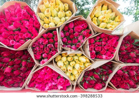 flower bouquet on background photography - stock photo