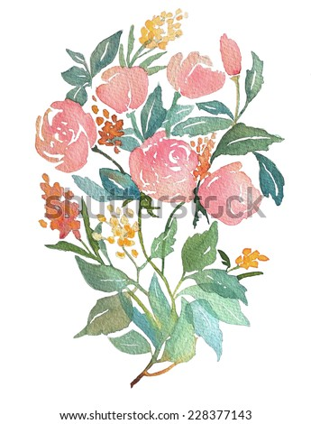 Flower bouquet. Perfect for wedding invitations, celebration cards and any printing or decoration. Hand watercolor painting. White background - stock photo