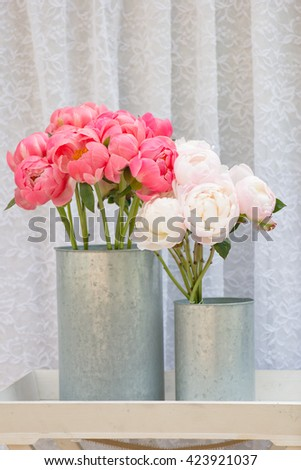 flower bouquets , bunch of Pink and  white Peony flowers - stock photo