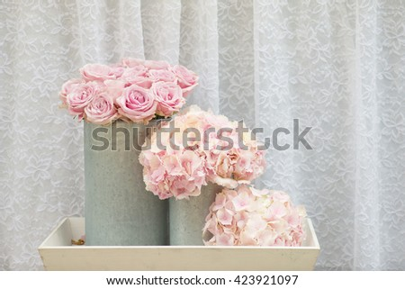 flower bouquets , bunch of Pink rose and Hydrangea flowers - stock photo