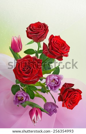 Flower bouquets for Birthday, Mothers Day, Easter. top view of four colorful blooms arrangements - stock photo