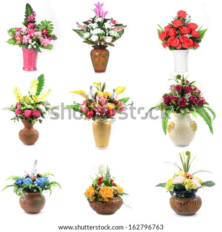Flower collection isolated - stock photo