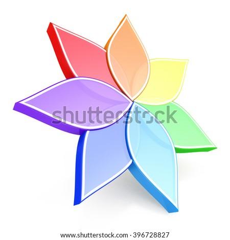 Flower Color Wheel - 3D rendered illustration - stock photo