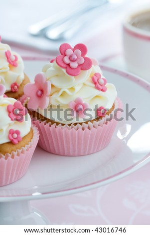 Flower cupcakes - stock photo