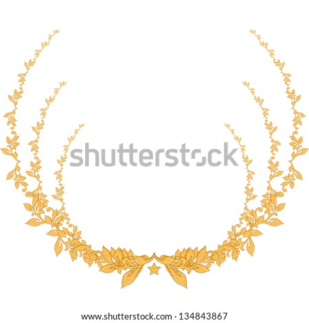 Flower element. Round floral illustration background. Gold (vector format also available in my portfolio) - stock photo