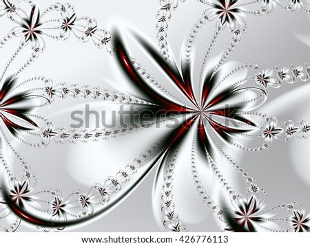 Flower fractal pattern. You can use it for invitations, notebook covers, phone cases, postcards, cards, ceramics, carpets and so on. Artwork for creative design, art and entertainment. - stock photo